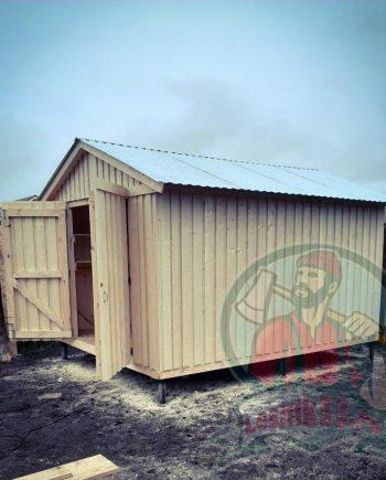 Хозблок гараж с распашными воротами 4 на 3 метра (строганный)